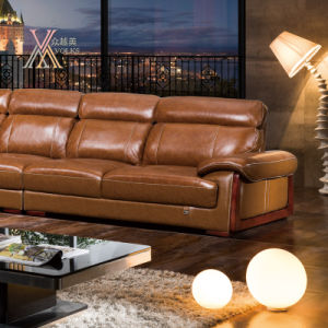 Yellow Leather Sofa (825) pictures & photos
