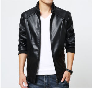 Factory Sale Casual Mens Winter Jacket PU Leather Jacket pictures & photos