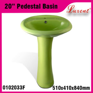 Porcelain Bathroom Coloured Single Hole Classic Hair Wash Pedestal Basin pictures & photos