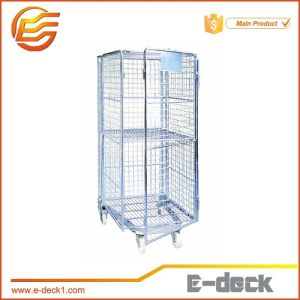 Galvanized Four Side Steel Roll Container with Castors