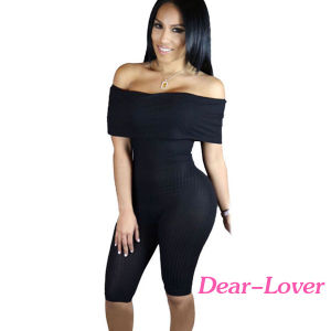 Black Knee-Length off Shoulder Ribbed Jumpsuit pictures & photos