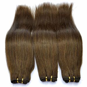 Brown Color Silk Straight Human Hair Weft pictures & photos