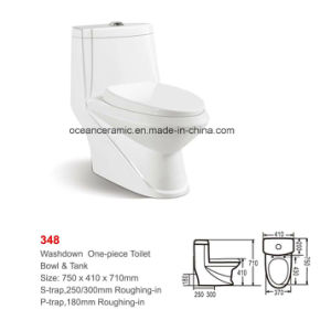 Latest Style Ceramic Washdown One-Piece Toilet (No. 348) pictures & photos