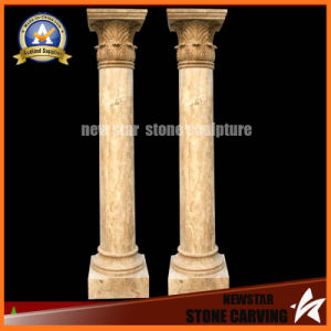 Beige Color Hand Carved Stone Carving Roman Column (NS-11C12) pictures & photos