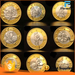 Custom Stainless Iron Double Plating Gold Silver Sex Euro Coin pictures & photos