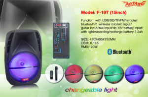 Bluetooth Plastic Portable Trolley Speaker 15 Inch /FM /USB/SD/Remote F19t pictures & photos