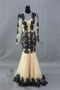 100% Real Photos Custom Made Long Sleeve Lace Evening Dresses pictures & photos