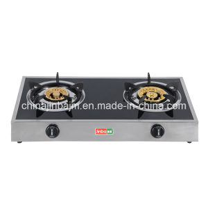 2 Burners Tempered Glass Top Stainless Steel Brass Gas Cooker/Gas Stove pictures & photos