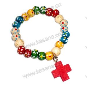 Plum Blossom Wood Beads Mixed Colour with Cross Bracelet pictures & photos