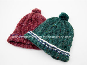 100% Acrylic Cable Knitted Hat with Striped Brim and Pompom pictures & photos