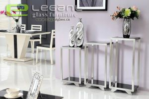Stair-Step Stainless Steel Console Table with Glass Top pictures & photos