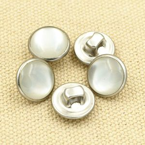 Transparent Bead Cap Silver Metal Brass Shank Sewing Button pictures & photos