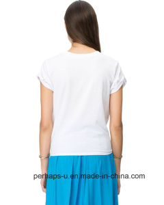 Unique Womens Cotton T-Shirt with String Hemline pictures & photos
