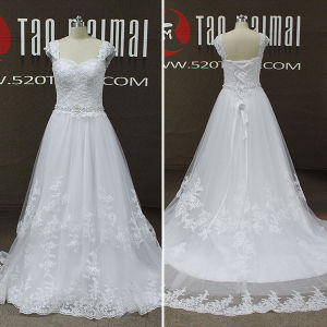 Real Photos Lace Tulle Women A-Line Wedding Dresses (TM-AL196)