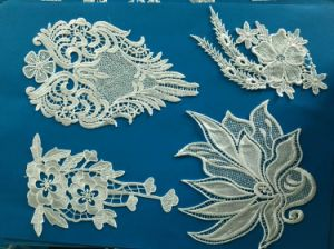 White Nylon Lace Embroidery Fabric Lace Motif for Ladies Suits pictures & photos
