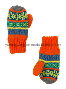 Fashion Warm Knitted Acrylic Jacquard Gloves & Mittens pictures & photos