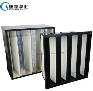 High Efficiency Ventilation System Plastic Frame V Bank Air Filter pictures & photos