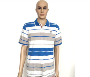 Wholesale Custom Polo T Shirt 2016 New Design Cotton Short Casual Striped Slim Contrast Color Men′s Polo Shirt pictures & photos