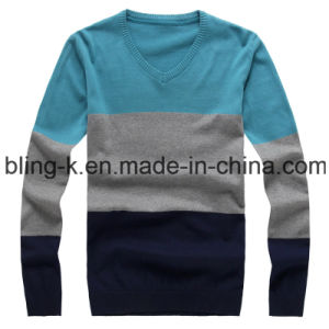 Round Neck Striped Knitting Pullover for Men