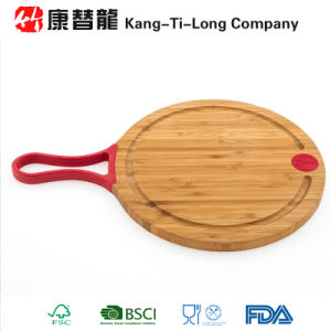 Round Bamboo Cutting Board with Silicone Handle