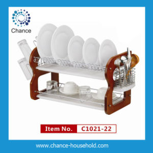 Double Tray B Shap Wooden & Steel Dish Rack C1021-22