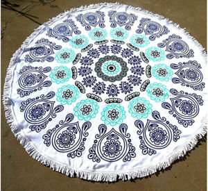 OEM Top Quality Microfiber Printed Round Beach Towels with Tassels