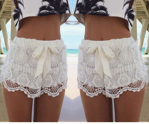 Hot Sale Fashion Drawstring Bow Women Lace Shorts (50169) pictures & photos