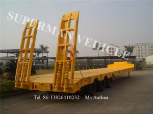 60t Tri Axle Lowbed/ Lowdeck/ Low Platform Cargo Heavy Truck Semi Trailer pictures & photos