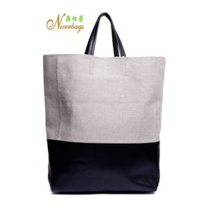 2016 New Arrival Fashion Linen with PU Tote Bag for Shopping pictures & photos