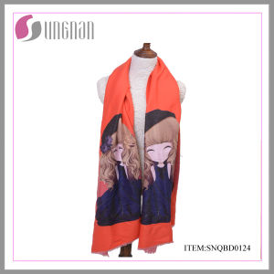 Europe 2015 New Winter Warm Cute Girl Printing Cotton Scarf Shawl (SNQBD0124) pictures & photos