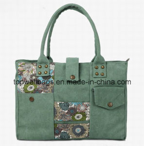 Fashion Hot Selling Leisure Handle Ladies Canvas Printing Bag