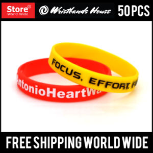 Emboss Printed Custom Silicone Wristbands pictures & photos