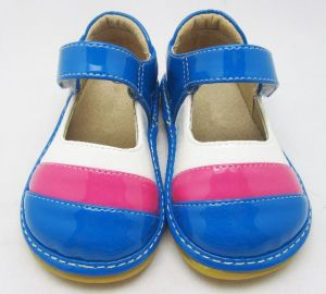 Blue Pink White Stripes Handmade Baby Squeaky Shoes Soft Wholesale