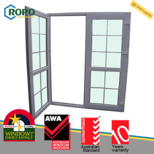 Modern House Double Glazing UPVC/PVC Plastic Casement Door with Grill pictures & photos
