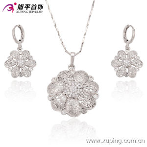 Fashion Luxury Flower -Shaped CZ Crystal Rhodium Jewelry Set for Wedding 63272 pictures & photos