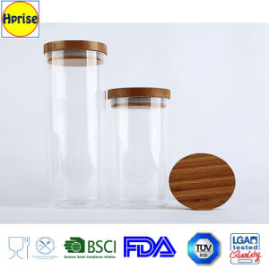 Bamboo Wooden Glass Canister Storage Jars