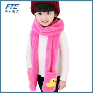 Winter Warm Mitten Scarf Double Layer Coral Fleece Girls Scarfs pictures & photos