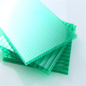 Green Color Twin Wall Polycarbonate Hollow Sheets Heat Resistance Panel pictures & photos