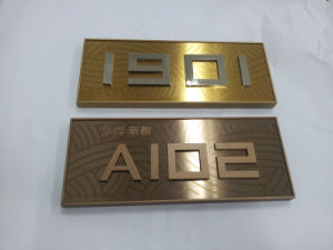 Brushed Brass Panel Identification Room Number Building Sign pictures & photos