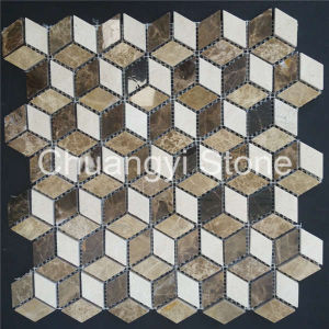 Chinese Manufactory Produce White Mixed Brown Marble Mosaic Tile for Bathroom Wall/Home Decoration