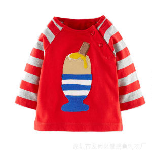 High Quality Pure Cotton Embroidery Long Sleeve Kids T-Shirt pictures & photos
