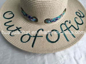 Paper Braid Beach Style Printed Scarf Embroiery Emb Eyelet Trim Floopy Straw Hat pictures & photos