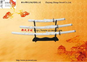 Cheap Swords Set Craved Dragon with Wooden Stand Martial Arts-White