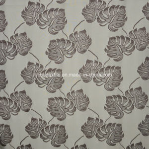 Popular Chocolate Jacquard Shrinkage Flower Design Curtain Fabric pictures & photos