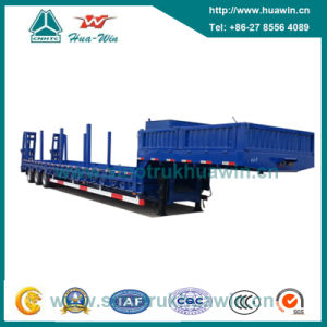 3 Axle Low Bed Semi Trailer with Manual Spring Ladder pictures & photos