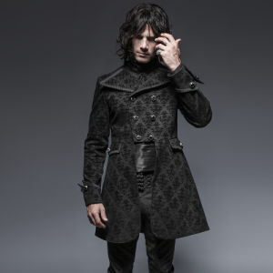 Y-640 Black Spirng Man Gothic England Style Embroidered Long Coat pictures & photos