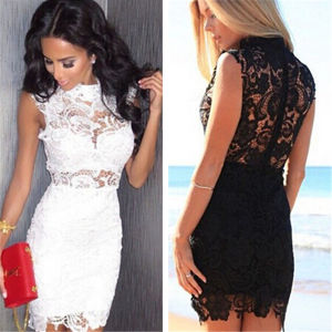 Hot Summer Women Lace Floral Sleeveless Sexy Evening Party Dress pictures & photos