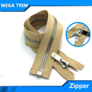 Open-End Silver Teeth Brown Tape Metal Zipper pictures & photos