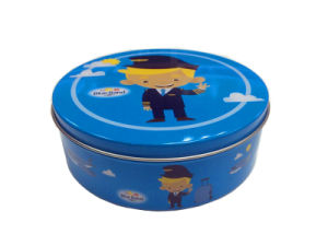 Metal Round Tin Box for School Student to Pack Food and Game Card Inside