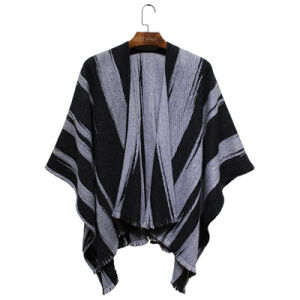 Lady Fashion Acrylic Tatted Striped Winter Fringe Shawl (YKY4492) pictures & photos